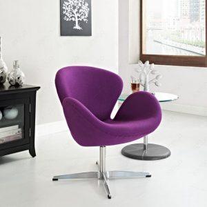 Velvet Swan Chair Purple