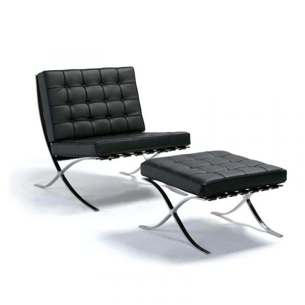 Barcelona chair replica with ottoman