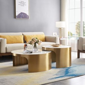 White Marble Top Coffee Table Set