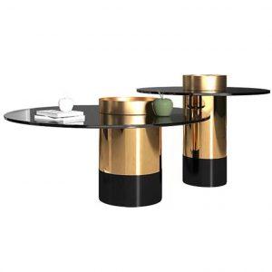 Glass Coffee Table Set Modern